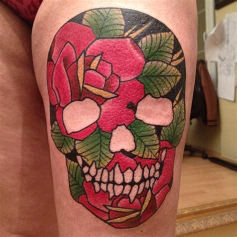 flower skull  tattoo design ideas