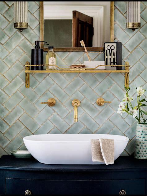 Brass Fixtures Bathroom by Brass Herringbone Oozes Elegance Bathrooms Powder