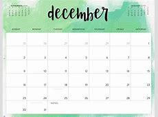 December 2018 Calendar Printable Free Word PDF Blank