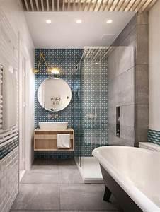 comment choisir le luminaire pour salle de bain With salle de bain bleu blanc gris