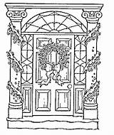 Door Coloring Christmas Pages Adult Sheets Printable Drawings Adults Drawing Colouring Outline Books Pb Icolor Easy Print Decorations Printables Colors sketch template
