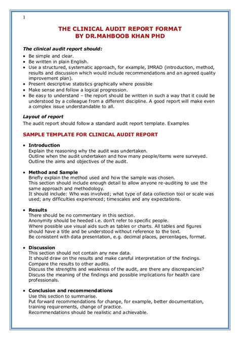 audit report template the clinical audit report format by dr mahboob khan phd