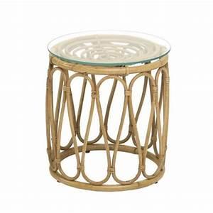 Table Basse Rotin : table basse rotin naturel tambour avec plateau verre kok pier import ~ Teatrodelosmanantiales.com Idées de Décoration