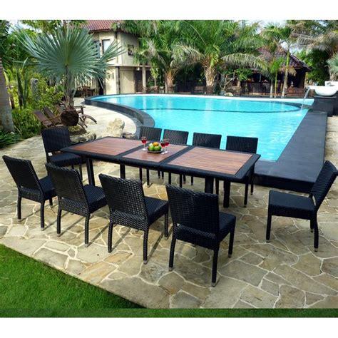 Mobilier de jardin en teck et resine tressee - ensemble de jardin 10 chaises en resine