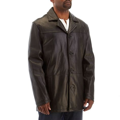 Excelled Mens Big & Tall Button-Front Leather Coat 810056073