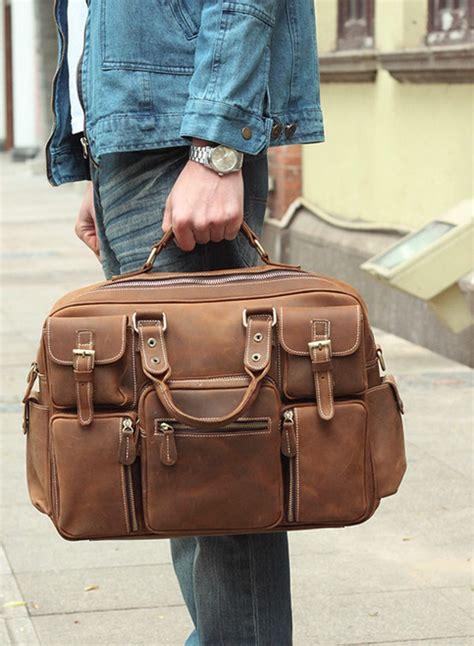 large handmade vintage leather travel bag leather