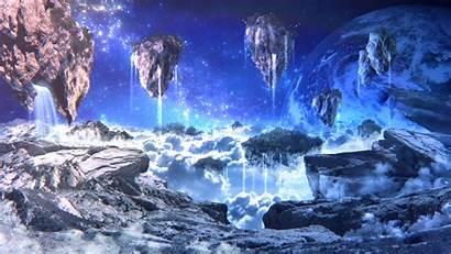 Floating Sci Fi Landscape Islands Planet Waterfalls