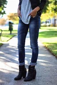 Black Booties | Cuffed Blue Jeans | Black Leather Jacket | Gray Tee . jovialjessi | Clothes ...