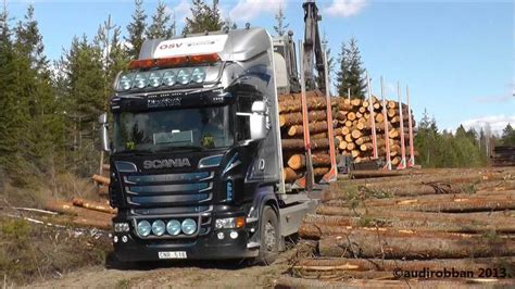 scania   timber truck loading youtube