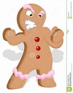 Angry Gingerbread Man - Christmas Vector Illustration