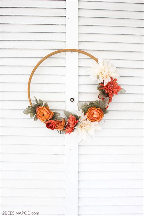 fall embroidery hoop wreath  bees   pod