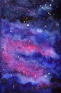 Watercolor Galaxy Pink Nebula Painting by Olga Shvartsur