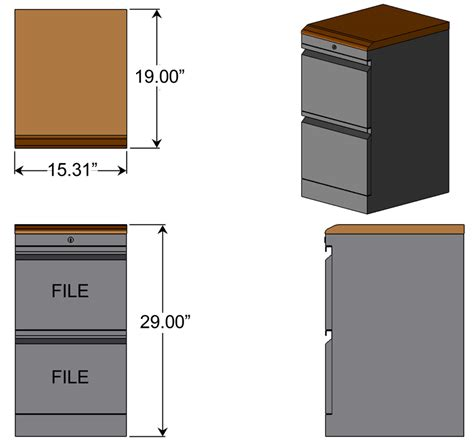File Cabinet Sizes by File File Cabinet With Premium Wood Top Caretta Workspace