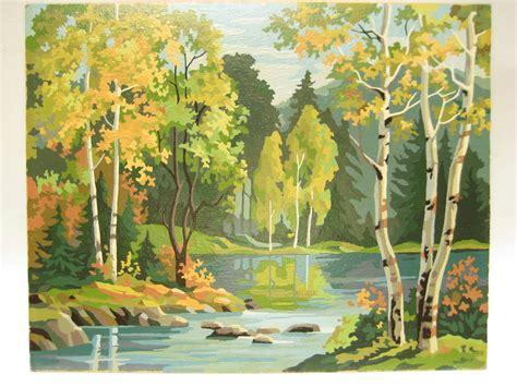 vintage paint by number pbn landscape woodland large