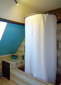 Barre D Angle Extensible Pour Rideau De Baignoire : baignoire en sous pente et solution circulaire de ~ Premium-room.com Idées de Décoration