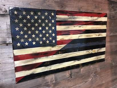Flag Thin American Line Wood Wooden Flags