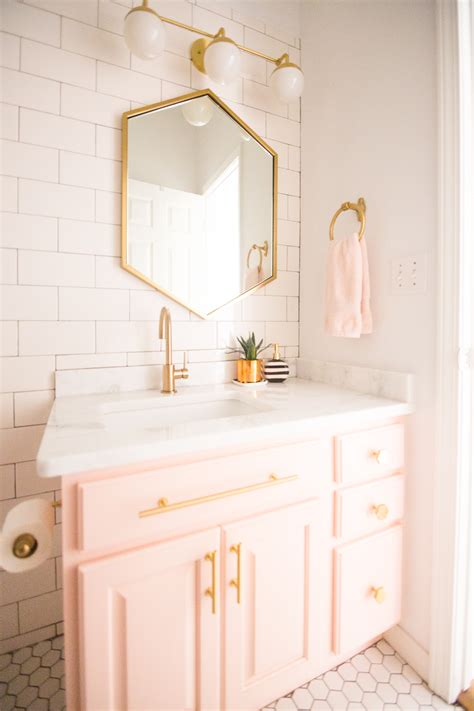 gold bathroom mirror modern glam blush bathroom design cc and mike 12985