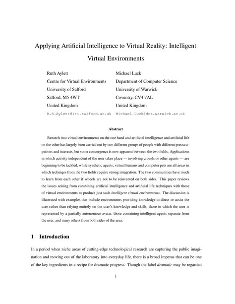 (PDF) Applying Artificial Intelligence to Virtual Reality