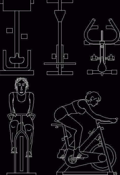 spin bike stationary exercise bicycle dwg block