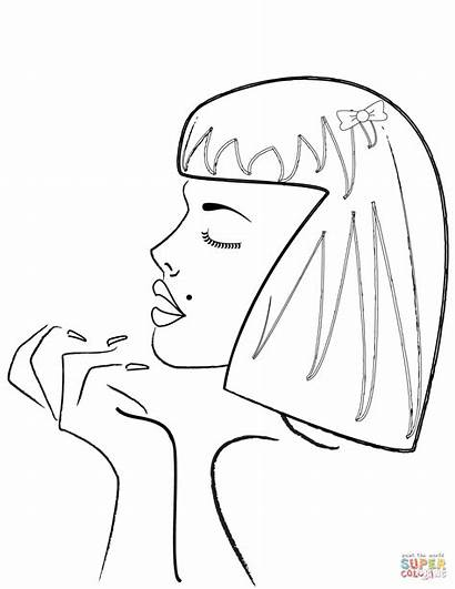 Coloring Side Profile Pages Woman Womans Drawing