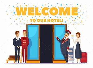 Welcome To Hotel Cartoon Poster by macrovector GraphicRiver