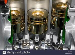 Automobile Cylinder Block And Car Piston View Stock Photo
