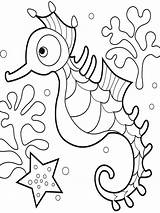 Seahorse Coloring Pages Print Fish Colors Bright Recommended sketch template