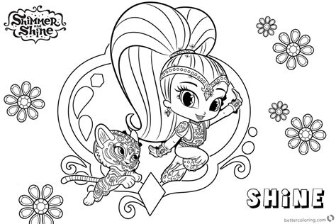 Shimmer And Shine Coloring Pages Shine And Pet Tiger