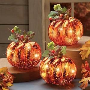 Lighted, Harvest, Pumpkin, Set, Fall, Home, Decor, 3, Pc