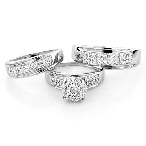10k gold engagement trio his and hers wedding ring 0 95ct