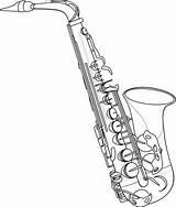 Oboe Drawing Saxophone Outline Getdrawings sketch template