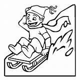Coloring Pages Winter Sled Sledding Kid Season Drawing Colouring Happy Printable Slidding Toboggan Template Sketch Sheets Sleds Clipartmag Boys Inc sketch template