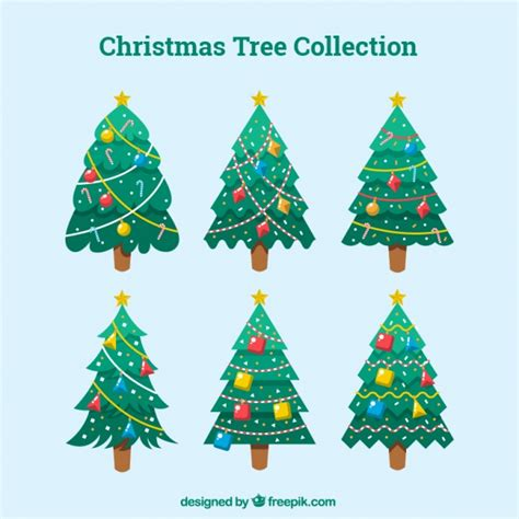 collection of christmas trees with ornaments in flat
