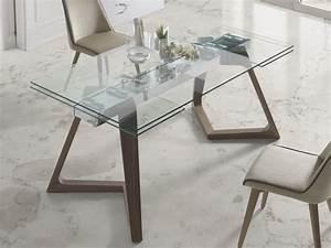 table a manger extensible avec plateau en verre trempa With meuble salle À manger avec table À manger en verre