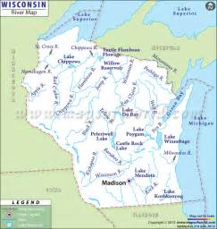 Wisconsin Lakes and Rivers Map
