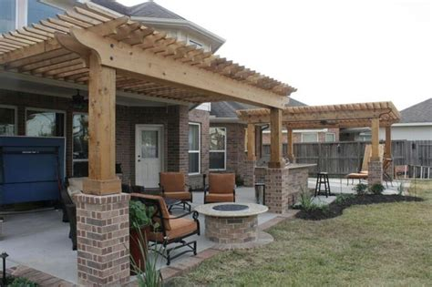 extended patio ideas extended patio with brick border shade arbors firepit
