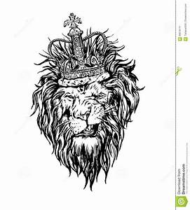 Lion With Crown Drawing Hand Drawn Realistic Lion In Crown ...