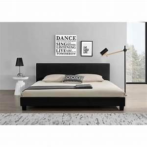 Lit 180x200 Pas Cher : lit contemporain 180x200 noir structure lit t te de lit ~ Melissatoandfro.com Idées de Décoration