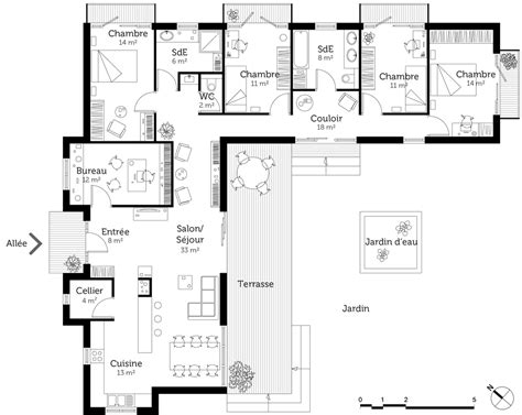 plan maison contemporaine gratuit toit plat