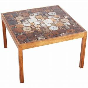 danish rosewood coffee table with ceramic tiles 1960s for With coffee table with tiles