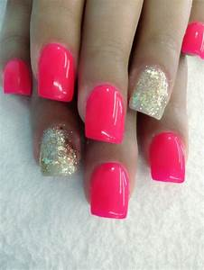 Nail with hot pink and gold glitter. | Beautiful nails ...
