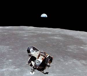 Apollo 11 Lunar Module with an Earthrise from the Moon