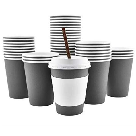Disposable coffee cups matched to your. 100 pack - 12 oz 16 oz 4 colors disposable hot paper ...