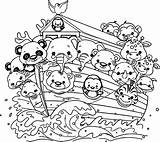 Noah Flood Ark Coloring Pages Cartoon Bible Nice sketch template