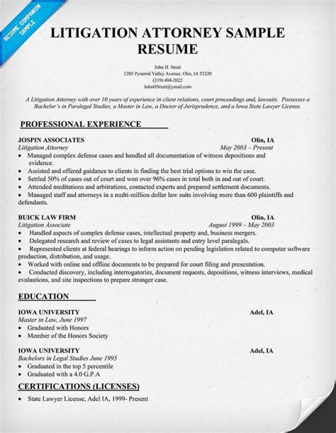 Attorney Resumes litigation attorney resume sle by the for the pi
