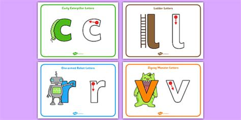 letter formation posters curly caterpillar  armed