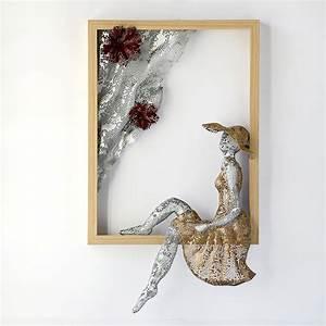 Metal wall art framed women sculpture home decor