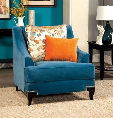 Peacock Blue Loveseat by Viscontti Sm2203 Sofa In Peacock Blue Fabric W Options