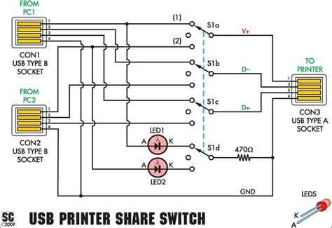 Usb Printer Share Switch Circuit Project Diagram