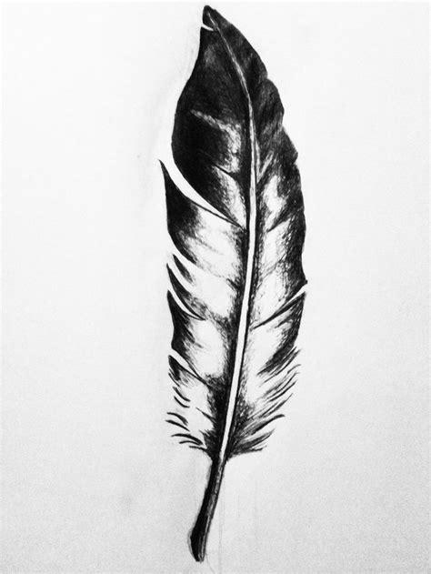 Simple Black & White Eagle Feather Tattoo Design